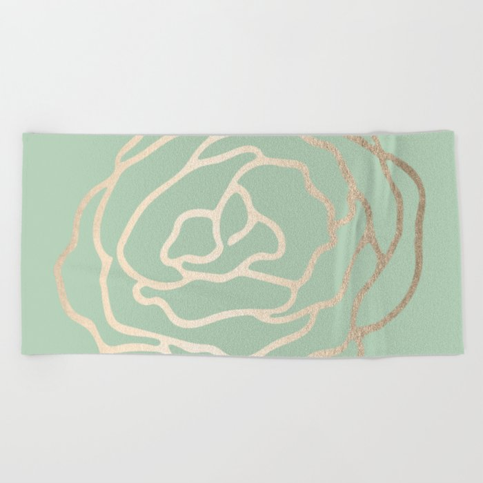 Rose White Gold Sands on Pastel Cactus Green Beach Towel