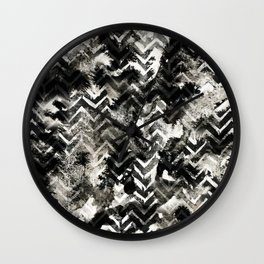 Black & White Chevron Ink Spill Wall Clock