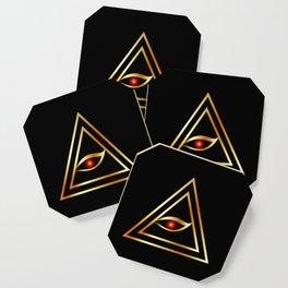 All Seeing Eye of illuminati in gold Coaster