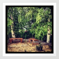 summer benches Art Print