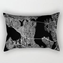 Seattle Black Map Rectangular Pillow