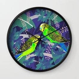 Green Parakeets Wall Clock