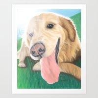 Golden Retriever Sunshine - Pastel Portrait Art Print