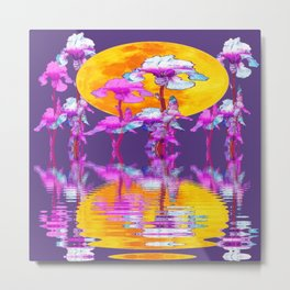 PURPLE-WHITE IRIS & MOON WATER GARDEN  REFLECTION Metal Print