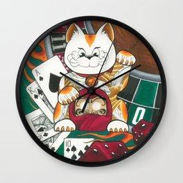 Lucky Cat Gambler Wall Clock