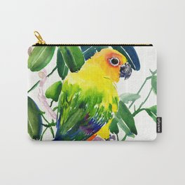 Sun Conure Parakeet, jungle tropical colors, parrot yellow deep green bright colored home decor Carry-All Pouch