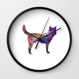 Korea Jindo Dog in watercolor Wall Clock