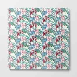 pattern of trees with flowers Metal Print