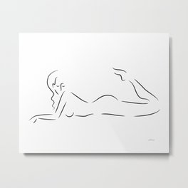 Woman line drawing. Minimalist black and white nude sketch. Metal Print