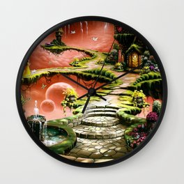 Spectacular Fantasy Levitating Village Garden Dreamland Ultra HD Wall Clock