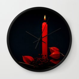 Red Candle Physalis And Rowan Fruits On Black Wall Clock