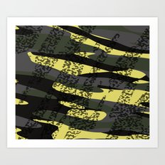 Yellow tan and black camo abstract Art Print