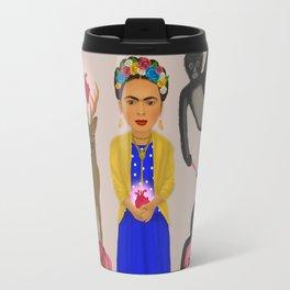 Frida Kahlo Tribute Grey Travel Mug