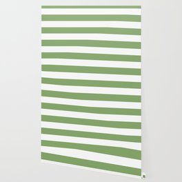 Asparagus - solid color - white stripes pattern Wallpaper