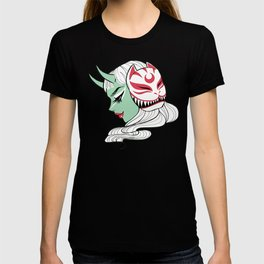 Kitsune Mask and Oni Girl (Japanese Demon) T-shirt