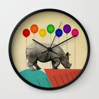 rhino Wall Clocks featuring Rhino by mark ashkenazi