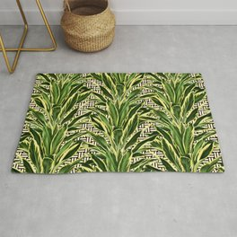 Palms on Stitch Pattern - Black White Gold Rug