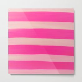 Modern Abstract Magenta Pink Stripes Brushstrokes Metal Print