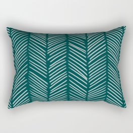 Dark Teal Herringbone Rectangular Pillow