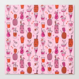 Tropical cocktails summer drinks pineapple tiki bar pattern by andrea lauren Canvas Print