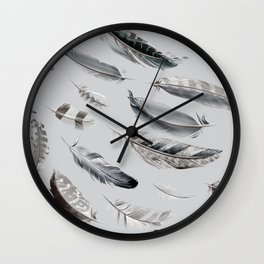 Cosmic Feathers Silver Dust Wall Clock