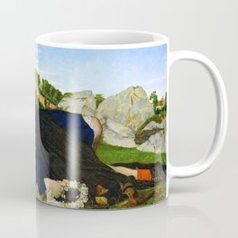 Robins of Modern Times, A girl and her dreams pastoral landscape by John Roddam Spencer Stanhope Coffee Mug