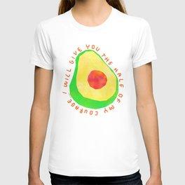 Let's Share Our Courage - Avocado Illustration Vegetable Vegan Colorful Humor Motivation T-shirt