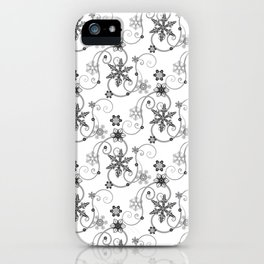 Snowflakes (Black) iPhone Case