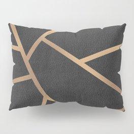 Dark Grey and Gold Textured Fragments - Geometric Design Pillow Sham