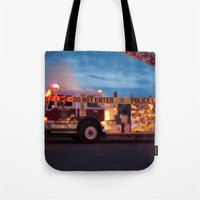 police Tote Bags featuring Police Line by SShaw Photographic