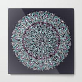 Mandala white pink and cyan lace Metal Print