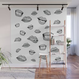 Lips. Black and white drawing. Wall Mural