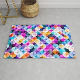 Modern colorful abstract geometric illustration pattern - vintage syule Rug