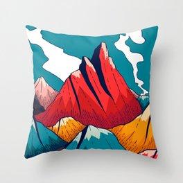Smoke trail mountains Throw Pillow