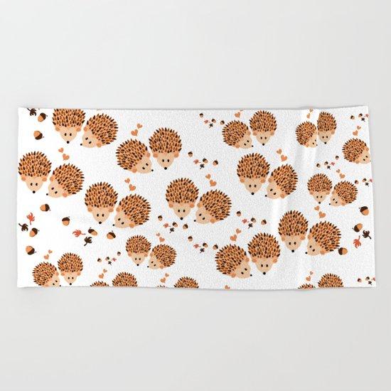 Hedgehogs in autumn Beach Towel