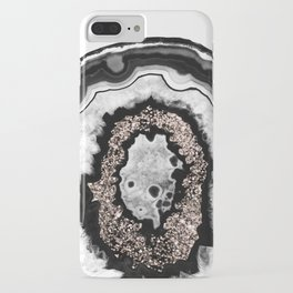 Gray Black White Agate with Rose Gold Glitter #3 #gem #decor #art #society6 iPhone Case