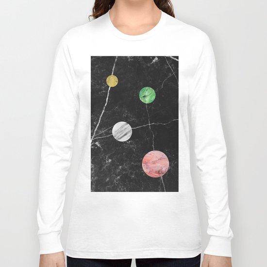 Black Marble with Polka Dots Long Sleeve T-shirt