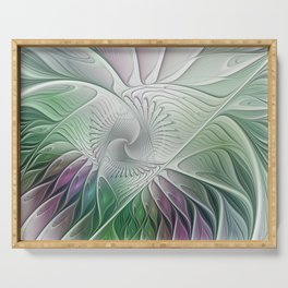 Colorful Fantasy Flower, Abstract Fractal Art Serving Tray