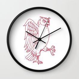 Great Horned Owl Marching Drawing Wall Clock