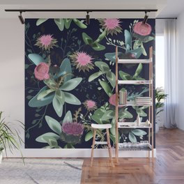 Fashion textile floral vector pattern with clover and field flowers Wall Mural