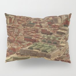 Vintage Penn Station and Surrounding NYC Map Pillow Sham