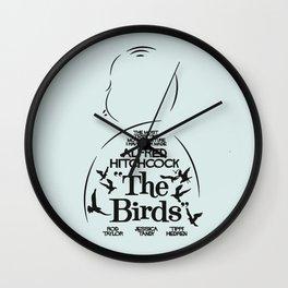 The Birds, Alfred Hitchcock, alternative movie poster, minimal playbill, Tippi Hedren, horror film Wall Clock