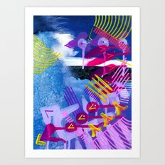 Wave purple Art Print
