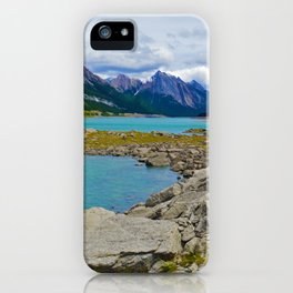Medicine Lake in the Maligne Valley of Jasper National Park, Canada iPhone Case