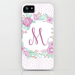Monogram M - cute girls purple florals flower wreath, lilac florals, baby girl, baby blanket iPhone Case