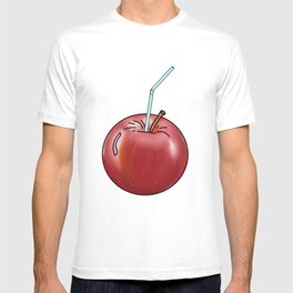 red Apple and a cocktail straw T-shirt