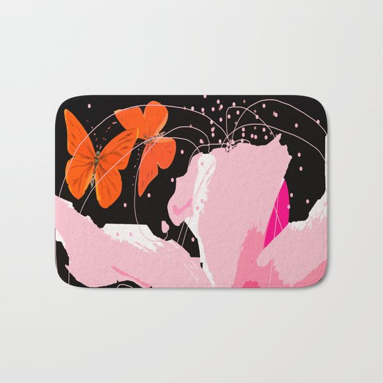 Creativity play - butterflies and flowers on a black background Bath Mat
