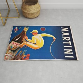 Vintage Martini and Rossi Sparkling Wine Vermouth Advertisement Poster Rug