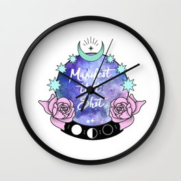 Manifest that Shit Crystal Ball Pastel Roses Wall Clock