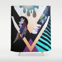 panther Shower Curtains featuring Panther Eclipse by Emily Hoy